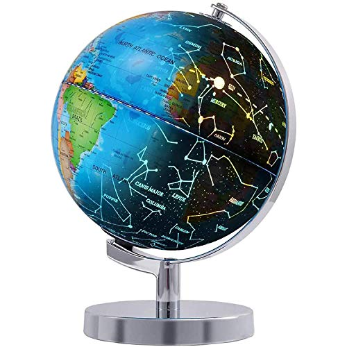 """Wizdar 8"""" LED Illuminated Globe for Kids, 3 in 1 Interactive Educational World Globes with Stand, Blue Ocean Earth Globe with Political Map, Constellation Globe and LED Desk Nightlight"""
