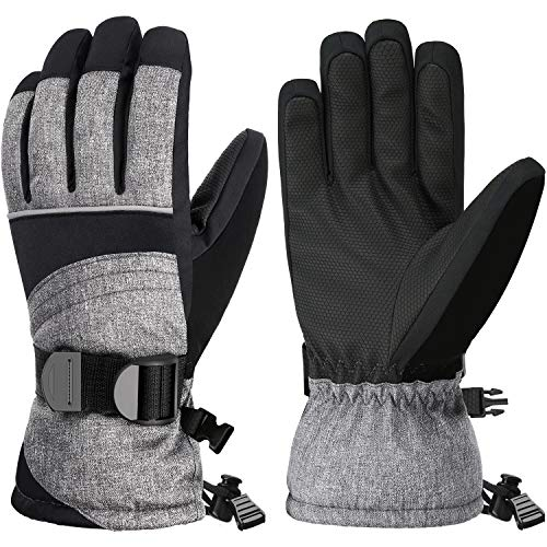Andake Ski Gloves, Snowproof 3M Thinsulate TPU Membrane Women's Winter Gloves with Non-Slip PU Palms for Skiing, Snowboarding, Riding, Climbing and Skating (Gray, M/L)