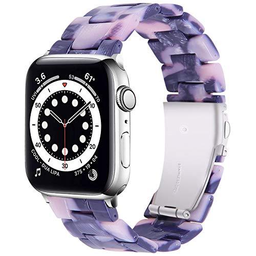 Miimall Compatible con Apple Watch de 44 mm y 42 mm, para mujer, de resina colorida, ligera, cómoda, resistente al agua, correa de repuesto para iWatch Series SE/6/5/4/3/2/1, color negro y lila