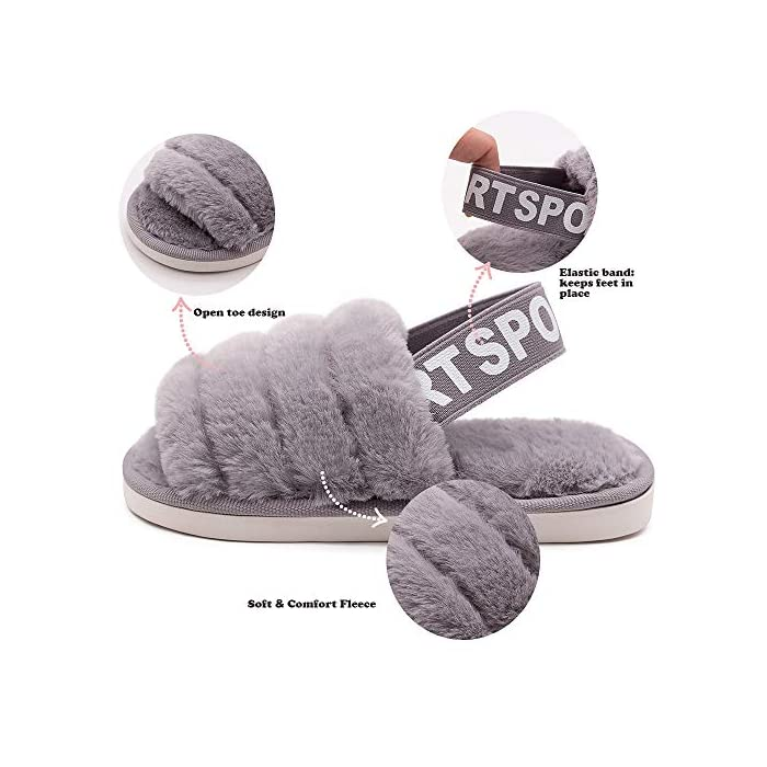 Kids Fluffy Fuzzy Slippers Open Toe House Home Slippers for Boys and Girls Faux Fur Slides with Strap Little Kids Slip-on Shoes