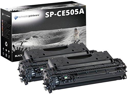 2 Schneider Printware Toner | 40 Prozent mehr Druckleistung | kompatibel, als Ersatz für CE505A / 05A für HP LaserJet P2035 (CE461A), HP LaserJet P2055 (CE456A), HP LaserJet P2055d (CE457A), HP LaserJet P2055dn (CE459A)
