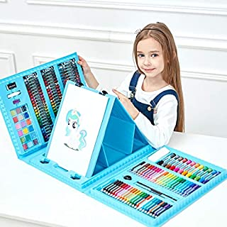 208 pcs. Art Drawing Set For Children by AsianTrends for Drawing and coloring, Colored Pencils and pens Crayon Oil Pastel ...