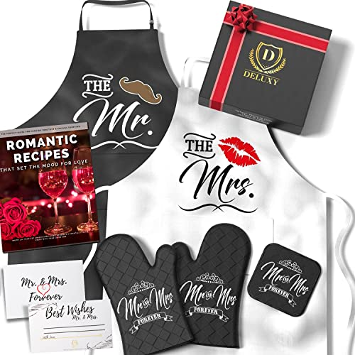 DELUXY Mr and Mrs Aprons For Happy Couple - Memorable Bridal Shower Gifts For Bride, Wedding Gifts For Couples Unique 2021, Engagement Gifts For Couples Aprons Set, Anniversary- Romantic Recipe Book