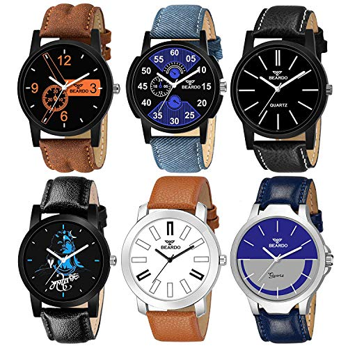 BEARDO Analogue Men's & Boys' Watch (Assorted Dial Assorted Colored Strap) (Pack of 6)