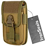 IronSeals Tactical Molle Pouch Compact EDC Utility Gadget Waist Bag Pack with Cell Phone Holster and Card Slots for 4.7'-6.7' Phone with Armor Case on