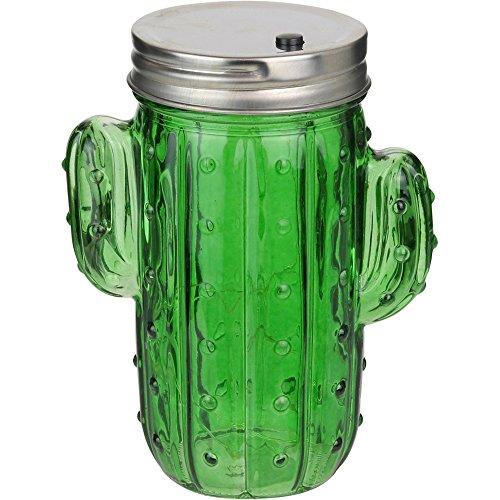 La Chaise Longue 38-1J-003 Lampe Bocal 10 LED Cactus Vert Verre métal et plastique H14 x 7 x 11 cm