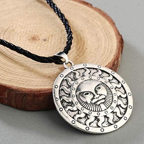 LJ Colgante, collar, joyería, antiguo, plata, amuleto, collar, sol, joyería, bronce, hombres, mujeres, joyería, marido, regalo de cumpleaños-2