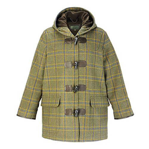 Women's Green Tweed Hooded Duffle Coat