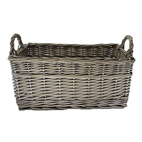 Red Hamper Small Shallow Antique Wash Storage Wicker Basket