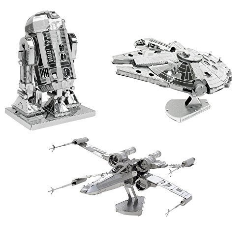 METAL EARTH MAQUETA/Puzzle 3D De Metal. Compatible - Star Wars HALCÓN MILENARIO + R2-D2 + X-Wing Starfighter - Monta Tus Modelos Favoritos en casa. (MMS251 + MMS250 + MMS257)