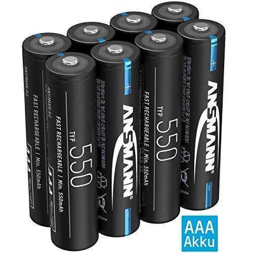 ANSMANN Akku AAA 550mAh NiMH 1,2V - Micro AAA Batterien wiederaufladbar mit geringer Selbstentladung ideal für Lichterkette, Stirnlampe, Wecker, Solarlampe, Thermometer, Fahrradlicht (8 Stück)