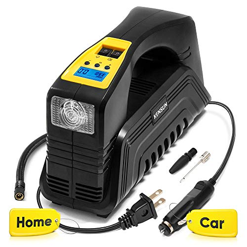 Kensun AC/DC Digital Tire Inflator for Car 12V DC and Home 110V AC Rapid Performance Portable...
