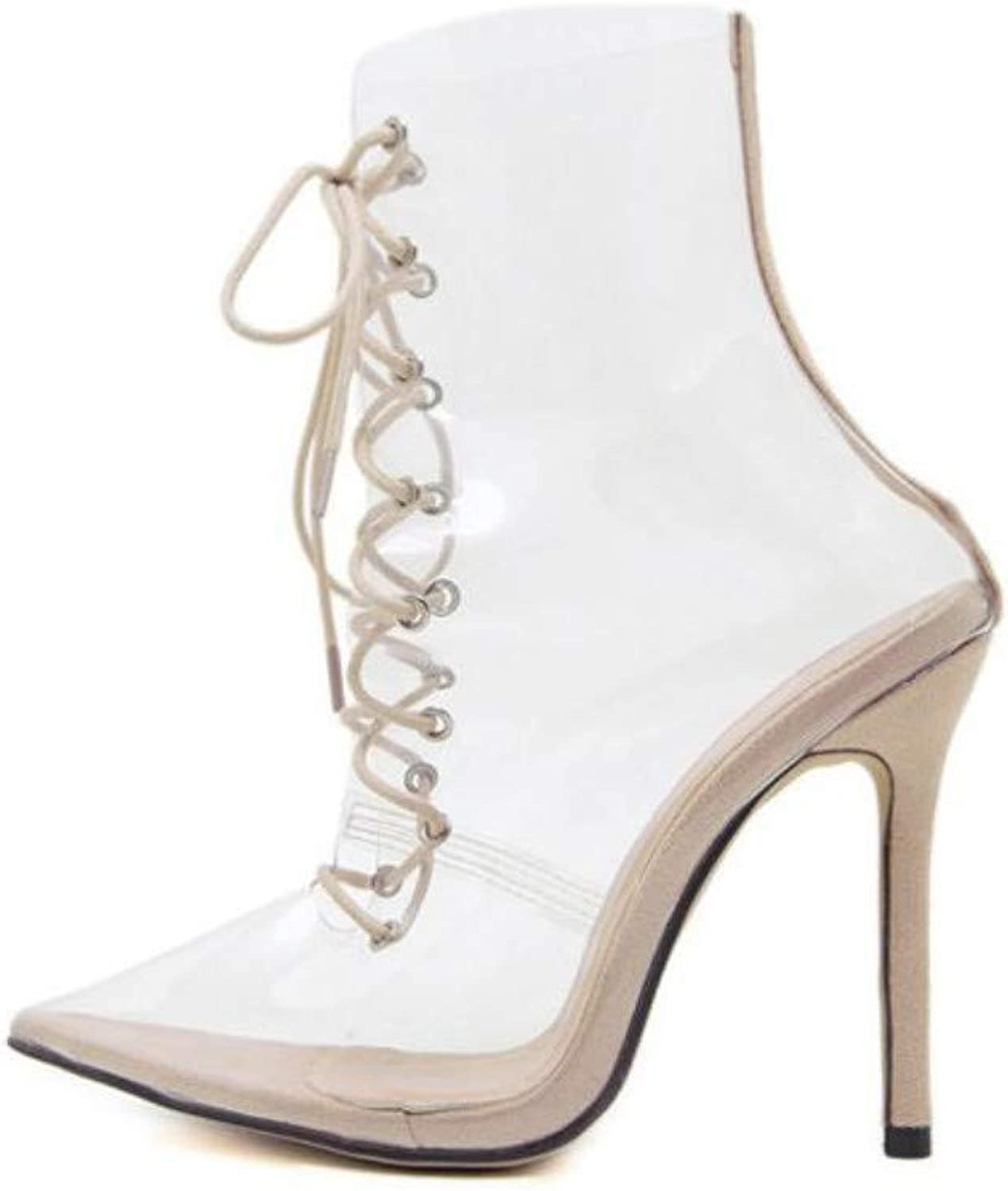 JQfashion Ladies'High Heels Transparent Sandals Sexy Pointed Sandals Tied with Thin Heels in Rome