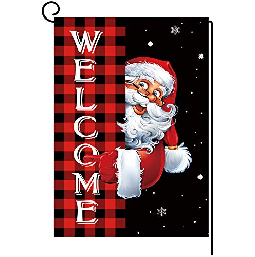 Christmas Garden Flag Double Sided Santa Claus Welcome Buffalo Plaid Yard Flag Farmhouse Xmas Winter Holiday Small Banner Lawn Indoor Outdoor Home Decoration 12.5 x 18inch