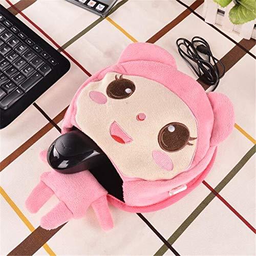 Muismat USB Gadgets, Cartoon Winter Gift USB Warmer Hands Mouse Pad Vrouwen/Meisjes/Student/Werken roze