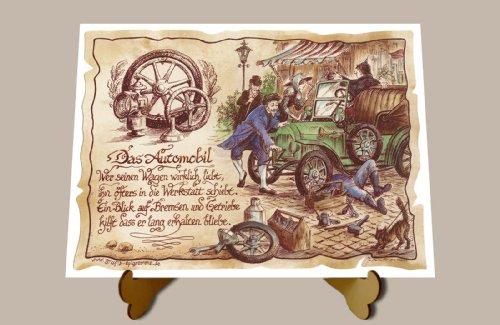 Geschenk Kfz Mechaniker Mechatroniker Automobil Zeichnung Color 30 x 21 cm mit Aufsteller