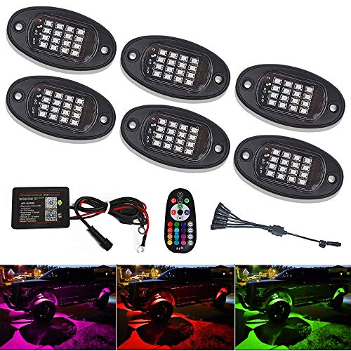 6 Pods RGB LED Rock Lights Kit Led Work Light With Smartphone Bluetooth Led Interior Rock Lights 15 DIY Colors Timing Flashing Neon Lights Kits For Off Road Truck SUV ATV Golf Car Motorcycle