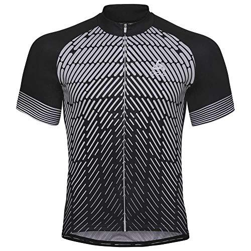Odlo Stand-Up Collar S/S Full Zip Fujin Print Camiseta, Hombre, Black/Silver Grey, S