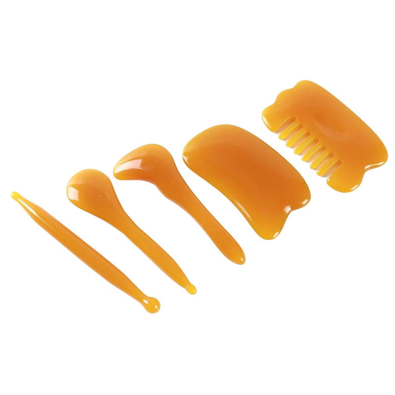 延ばす秘密の退化するHonel カッサプレート こする櫛 頭部のマッサージ こするプレート 手動 スパ マッサージツール カッサ板 カッサマッサージ道具 5ピース