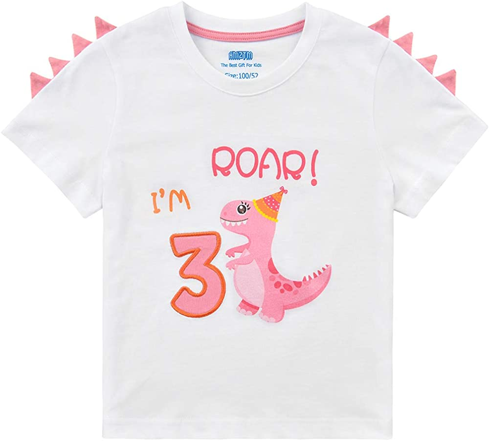 3rd Birthday Girl T-Shirt Dinosaur Party B-Day Themed Tee Gift for Toddler