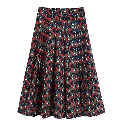 NObrand Falda Midi con Estampado de Flores Vintage para Mujer Falda Midi Plisada Otoño Ocio Faldas Sueltas