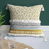 Dremisland Marokko getuftete Boho Kissenbezüge - Square Baumwolle Dekokissen Kissenbezüge Quaste Kissenbezug Weich Kissenhülle für Sofa Couch Auto Schlafzimmer Wohnzimmer 45x45cm (Gelb)