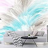 MuralXW 3D Fototapete Nordic Einfache Abstrakte Aquarell Ästhetische Feder Wohnzimmer Schlafzimmer TV Hintergrund Fototapete-280x200cm