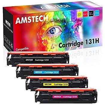 Amstech Compatible Toner Cartridge Replacement for Canon 131 Toner Cartridge 131H CRG131 CRG-131 ImageClass MF8280Cw MF624Cw LBP7110Cw MF628Cw MF8280 Printer Ink  Black Cyan Yellow Magenta 4-Pack