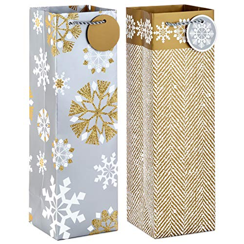 Hallmark Holiday Bottle Gift Bags, Silver and Gold Snowflakes (Pack of 2) for Wine, Olive Oil, Tall Presents, Hostess Gifts