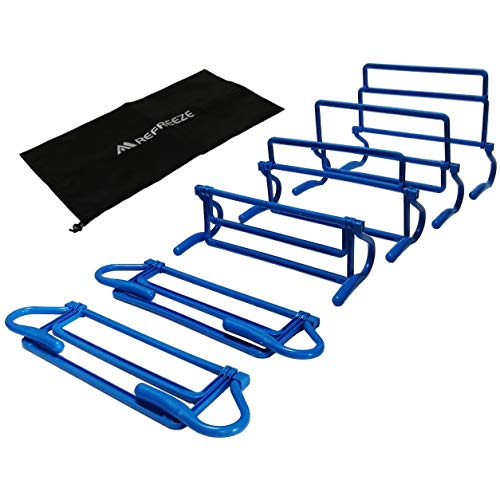 REFREEZE(リフリーズ) トレーニング ミニハードル 6個 + 収納袋 セット 4段階高さ調節可能 選べる5カラー (ブルー)
