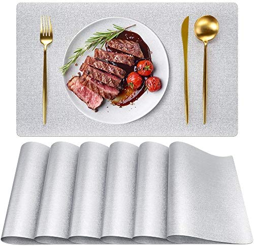 Silver Placemats Set of 6 PVC Placemats for Dining Table Washable Waterproof Washable Non Slip product image