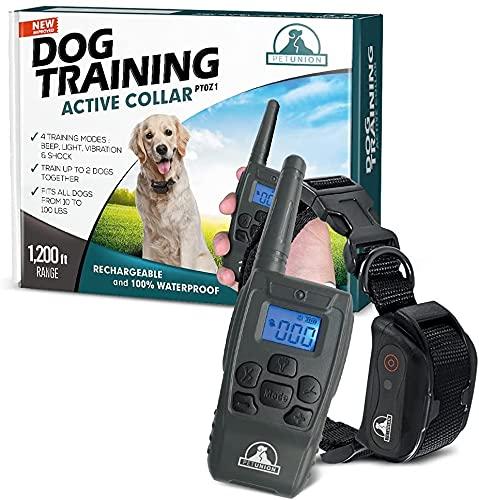 Pet Union PT0Z1 Premium Dog Training Shock Collar, Fully Waterproof, 1200ft Range (Charcoal)