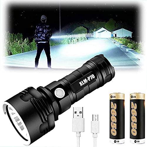 Linternas LED XLM-P70 Lúmenes altos, 30000-100000 Lumen Linterna impermeable de alta potencia, 3 modos Linterna súper brillante y Linterna recargable USB Linterna para acampar (50W XLM-P70, 2 Bateria) ⭐