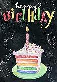 Toland Home Garden 1012277 Rainbow Cake Birthday 28 x 40 Inch Decorative, Happy Chalkboard Celebration, Double...