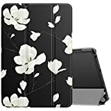 MoKo Case Compatible with All-New Kindle Fire HD 8 Tablet and Fire HD 8 Plus Tablet (10th Generation, 2020 Release), Smart Shell Stand Cover with Translucent Frosted Back - Black & White Magnolia