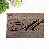Topyee Set of 4 Placemats Document French Writing Monogram Vintage Initial Words Script Paris 18x12.5 Inch Parties Decor Non-Slip Washable Place Mats for Kitchen Dinner Table Mats