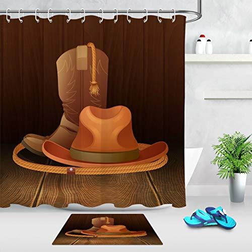 NNAYD1996 Houten Planken Western Cowboy Boots Hoed De badkamer heeft een prachtig uitzicht en een aangename sfeer
