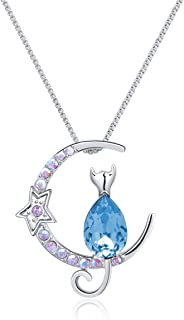 Twenty Plus Sparkling Necklace Moon Star with Sitting Cat Made of Crystals Jewelry Gifts for Women & Girls