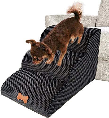 Deluxe Soft Dog Haustierbett, Haustreppe 23.62x16.54x15.35 zoll Hundetreppenleiter, rutschfeste untere komfortable 3-stufige Hund Rampe Sofa-Bettleiter, für Hundkatze kleine Haustiere (hoher Dichtesch