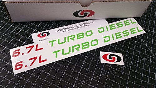 UNDERGROUND DESIGNS 6.7L Turbo Diesel Decals Powerstroke Hood Stickers Select Color (Lime Green & Red, 0.75' x 12.0')