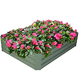 2-pack outoorraised garden bed galvanized planter box anti-rust coating planting vegetables herbs and flowers for… 1 wonderful planter box - 32in x32in x 12in square galvanized raised garden bed provide good drainage, keep weeds away from soil, defense against pests, and protect your plants; you can plant your favorite plants in your patio with this wonderful gardening tools. Safety material & edges - made of galvanized steel; which is rustproof and safe material ;do not contaminate soil, safe for plants and humans; outdoor bed kit edges are not sharp and will not hurt your fingers. High strength - metal piece designed with wave structure,provide better pressure resistance; thickened steel and reinforced corners can easily hold the soil and the plants.