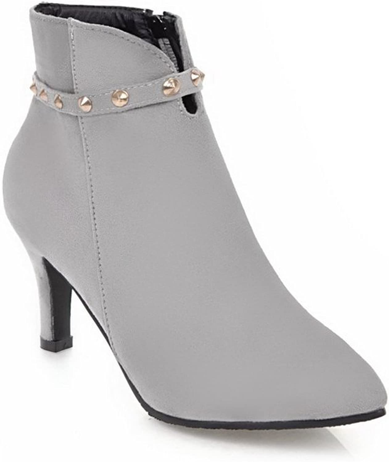 BalaMasa Womens Grommets Ankle-Wrap Ankle-High Suede Boots ABL10574
