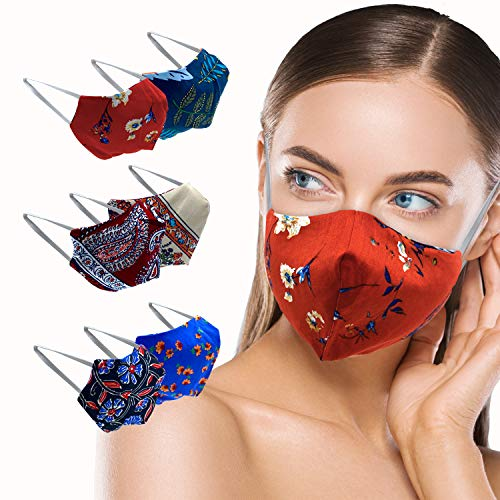 MADDY Face Mask – Double Sided Reversible Floral Print Fabric Breathable Face Mask for Men and Women Cotton with Comfortable Strap - Easily Washable and Perfect for Everyday Use - 3 Pack