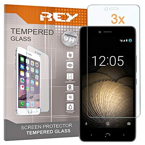 REY 3X Protector de Pantalla para BQ Aquaris U Plus/BQ Aquaris U/BQ Aquaris U Lite, Cristal Vidrio Templado Premium