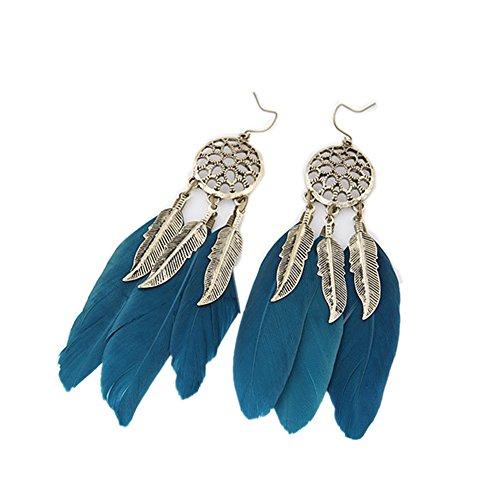 Pendientes de plumas de aleación de Nikgic personalidad vintage hoja borla larga pluma gota gancho pendientes azul azul 10.3cm*2.4cm