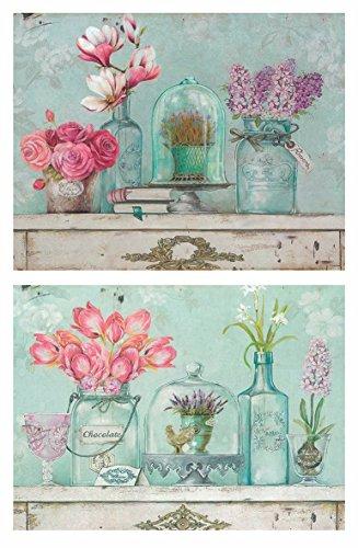 Cuadros Motivo Floral tonalidades Azules y Rosas sobre Madera Set de 2 Unidades de 19 cm x 25 cm x 4 mm unid. Adhesivo FÁCIL COLGADO. Adorno Decorativo. Decoración Pared hogar
