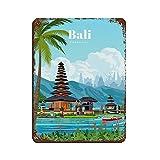 Cartel retro de viaje de Bali City con diseño de paisaje, cartel retro de metal de estaño, arte elegante, pintura de hierro, bar, cueva, café, familia, garaje, decoración de pared de 30 x 40 cm