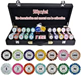 Texas Hold'em Poker Fichas Conjunto con Estuche de Cuero PU-Cuero / Caja / Maleta Crown Poker Chip Clay Poker Chips Casino Chips 200/300/400 / 500pcs / Set