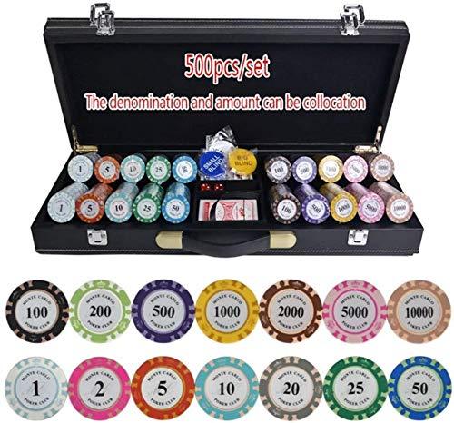 Texas Hold'em Poker Fichas Conjunto con Estuche de Cuero PU-Cuero / Caja / Maleta Crown Poker Chip Clay Poker Chips Casino Chips 200/300/400 / 500pcs / Set