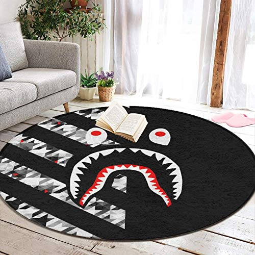 Abstract Modern Striped Houndstooth Bapes Shark Teeth Round Area Rug for Bedroom, Living Room, Home, Office/Memory Foam Floor Pad Rugs Entrance Rug, Anti-Slip Quick Dry Standing Mat (60' Diameter)